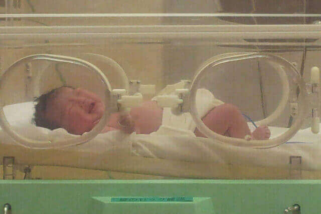 保育器の中の赤ちゃん